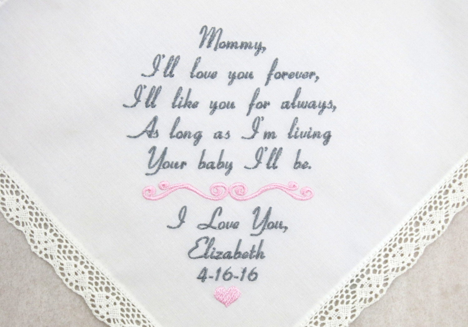 Mother Daughter Wedding Gifts: Mother Of The Bride Gift Embroidered Wedding Hankerchief