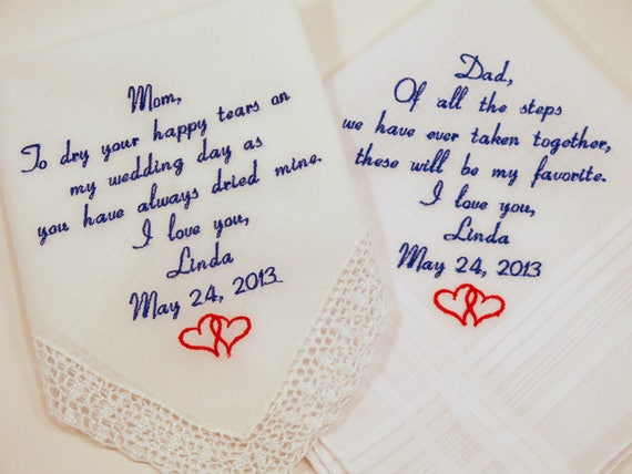 Mother of the Bride Gift Father of the Bride Gift Hankerchiefs Gift Set Embroidered Wedding Handkerchiefs Personalized printed embroidery