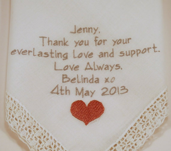 Hankerchief for Best Friend of the Bride Wedding Gift for Bridesmaid Embroidered Handkerchief Personalized Maid of Honor Matron of Honor