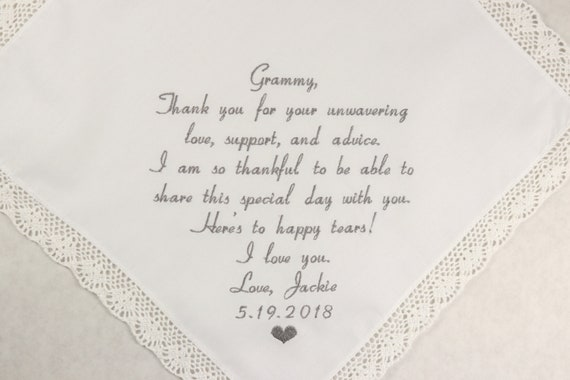 Grandma of the Bride wedding Gift from GrandDaughter embroidered hankerchief Wedding handkerchief gift for grandparent and grandmother