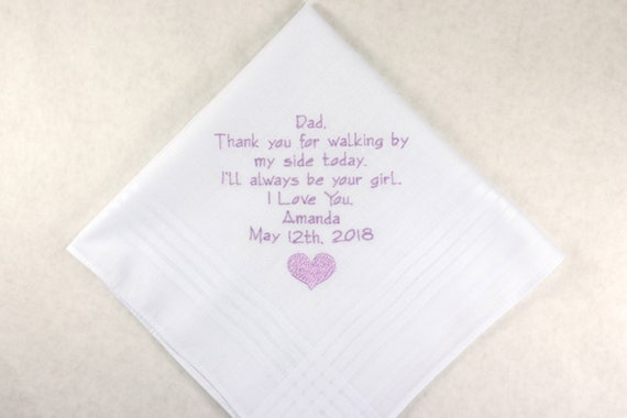 Wedding Gift for Dad from daughter Embroidered wedding Handkerchief Personalized Hankerchief for Father of the Bride gift in embroidery