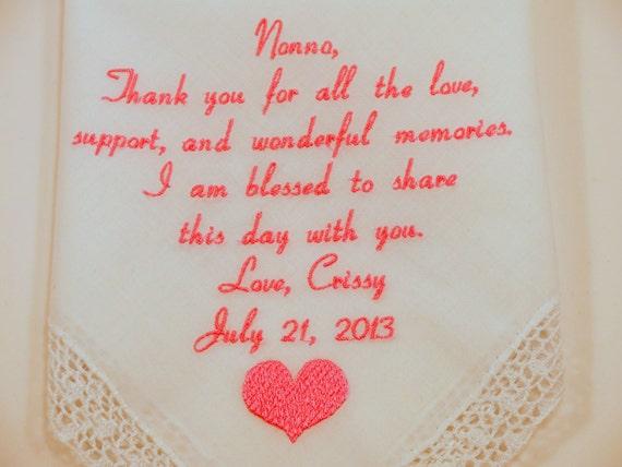 RESERVED for Denise Grandma of the Bride Gift wedding embroidered hankerchief Wedding handkerchief custom gift for grandparent grandmother