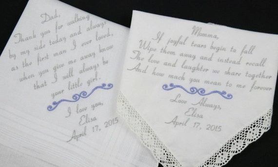 Parents of the Bride wedding gift Mom Dad Embroidered Wedding Hankerchiefs handkerchiefs Personalized 2 gifts for mother father