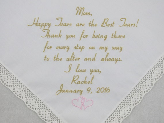 Printed in embroidery on Hankerchief Embroidered Wedding Handkerchief for Mother of the Bride from Daughter Gift Rustic Personalized