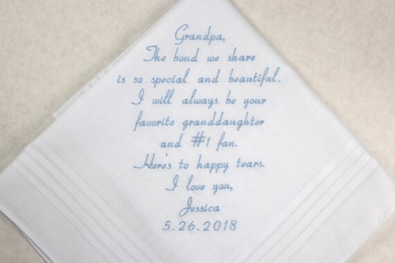 Grandpa of the Bride Gift Wedding gift for Grandfather from grand daughter Gift Embroidered wedding Handkerchief Personalized Hankerchief