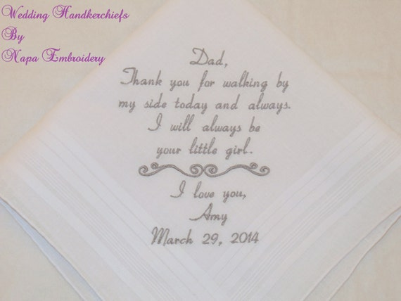 Wedding Handkerchief Father of the Bride Gift Thank you for walking by my side Personalized gift Custom Hankerchief for Dad Napa Embroidery