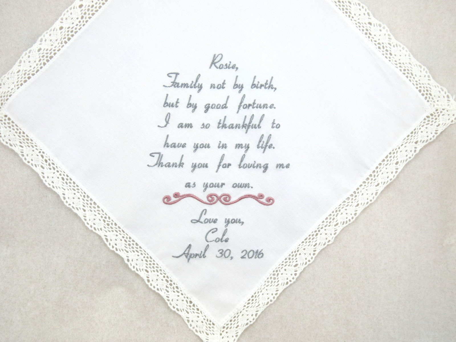 Wedding Gifts For Stepmom: Wedding Gift For Step Mom Embroidered Handkerchief