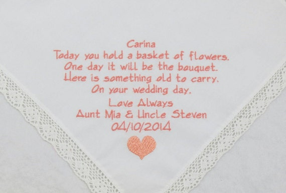 Flower Girl Handkerchief Personalized Embroidered wedding gift Flowergirl Junior bridesmaid poem printed in embroidery rustic Handkerchief