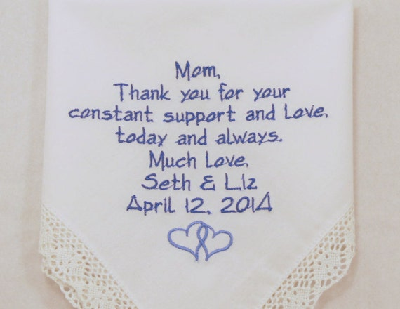 Mom Hankerchief Embroidered Present for Mother of the Bride Gift Wedding Handkerchief Personalized Rustic Keepsake Printed Napa Embroidery