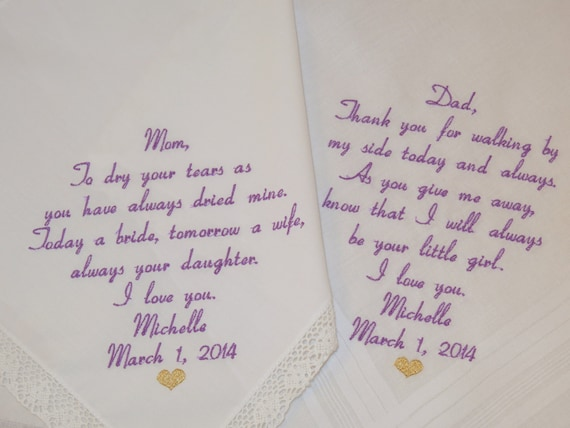 Father of the Bride Mother of the Bride Gift Set of 2 Embroidered Wedding Hankerchiefs Personalized Handkerchiefs Parents of the Bride Gifts