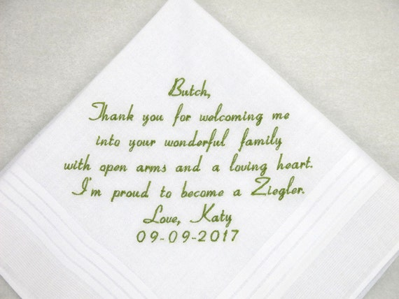 Father in Law Gift Father of the Groom Gift from the Bride Personalized Wedding Handkerchief Embroidered Hankerchief by Napa Embroidery