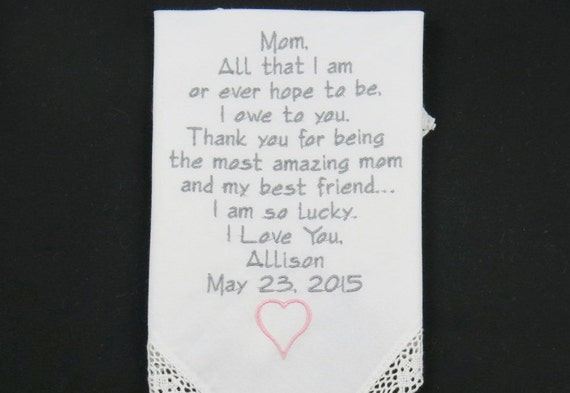 Wedding Gift for Mother of the Bride Embroidered Wedding Handkerchief Mom Hankerchief Personalized Mother Wedding Gift Napa Embroidery