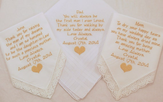 Mother of the bride gift Father of the bride gift Mother of the groom gift Set 3 Wedding Embroidered Personalized Handkerchiefs Hankerchiefs