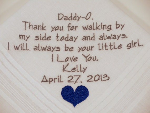 Father of the Bride Personalized  Wedding  Hankerchiefs Handkerchiefs gifts Dad custom embroidered hanky etsy  Embroidery