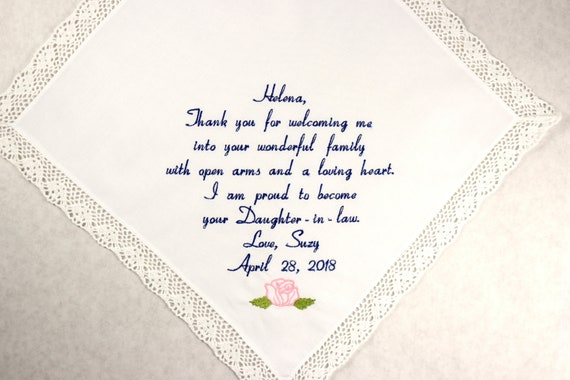 Mother of the Groom Gift Handkerchief Embroidered Wedding Hankerchief Mother in Law Gift form the Bride Personalized Wedding Gift