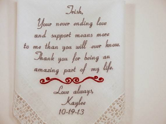 Sister of the Bride Gift Wedding Hankerchief Embroidered Wedding Handkerchief Gift for Best friend of the Bride Personalized Napa Embroidery