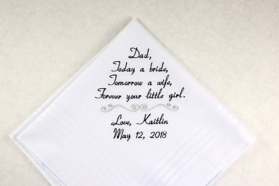 Wedding Gift for Dad from Daughter Father of the Bride gift Embroidered Hankerchief Personalized Handkerchief by Napa Embroidery