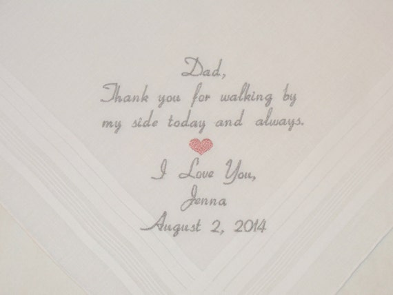 Father of the Bride Personalized Wedding Handkerchief gift for Dad custom Hankerchief Thank you for Walking by my side Etsy Napa Embroidery