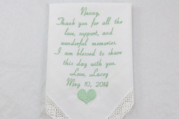 Wedding Gift for Grandma of the Bride Embroidered Handkerchief Personalized Hankerchief for Grandmother grandparent Printed Napa Embroidery