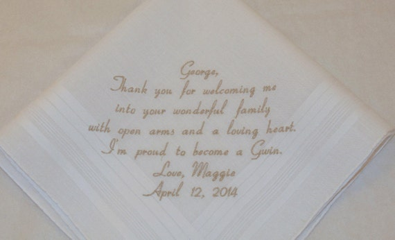 Father of the Groom Gift for Father in Law gift Personalized Wedding Handkerchief Embroidered for Dad Etsy Napa Embroidery Hankerchief