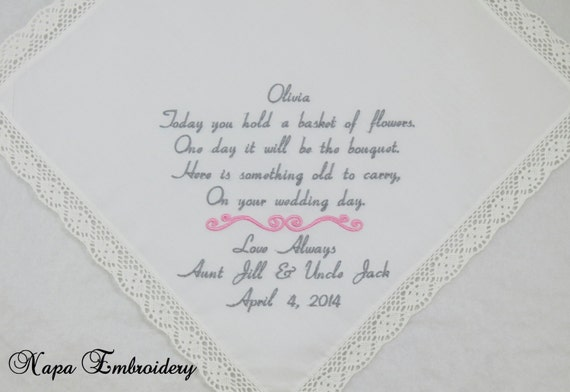 Embroidered Flower Girl Handkerchiefs Hankerchiefs Personalized wedding gift junior bridesmaid brown pink heart on Etsy by Napa Embroidery