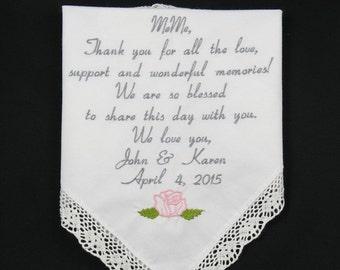 Aunt of the Bride Gift Wedding Handkerchief Personalized Hankerchief Aunt of the Groom Wedding Gift Personalized Embroidered Napa Embroidery