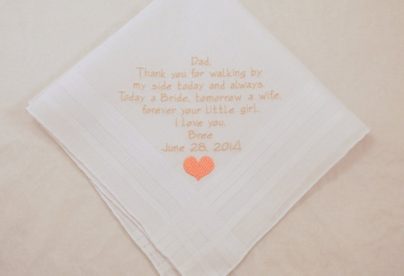 Gift for Father of the Bride Personalized Wedding Handkerchief Embroidered for Dad custom Hankerchief on Etsy by Napa Embroidery Printed