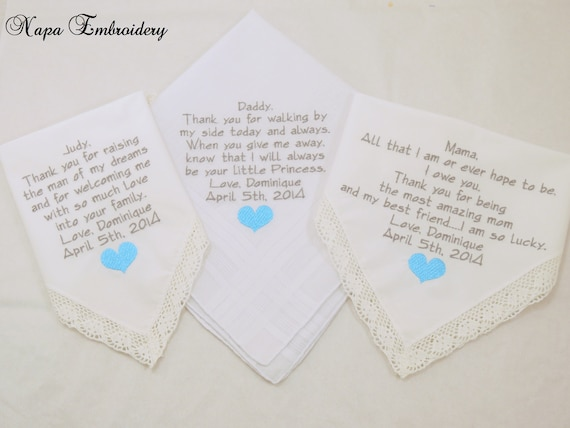 Set of 3 Handkerchiefs Father of Bride gift Mother of the bride gift Mother of the Groom gift Wedding Gifts Embroidered hankerchiefs Gifts