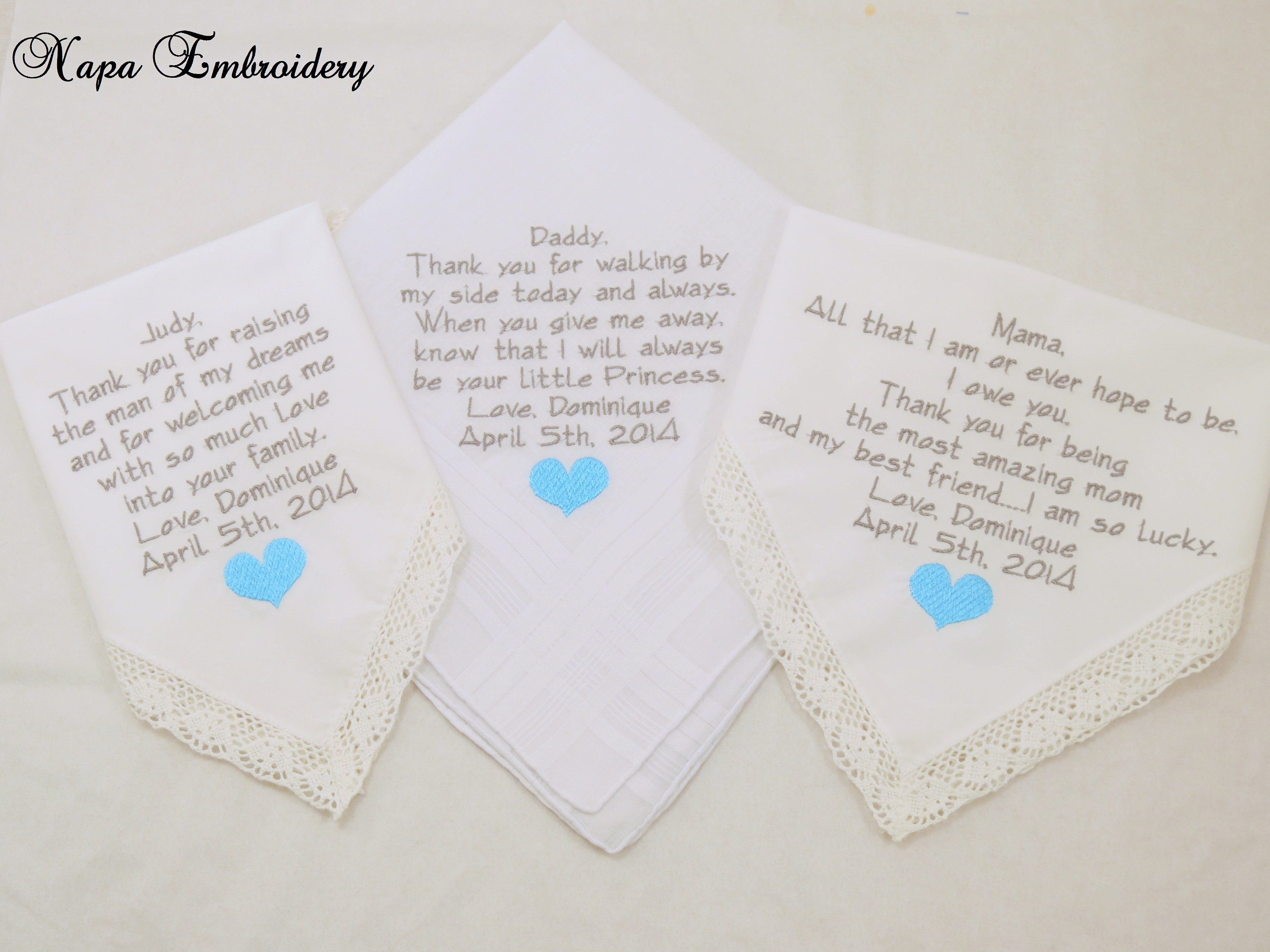 Set of 3 Handkerchiefs Father of Bride gift Mother of the bride gift ...