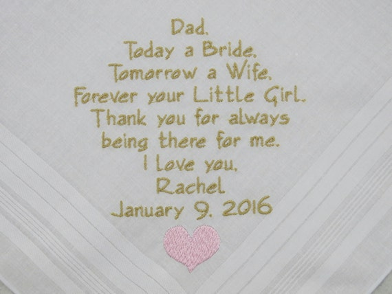Father of the Bride Gift Hankerchief Gift for Dad Wedding Gift Personalized Handkerchief Custom Wedding Hankies Embroidered Napa Embroidery