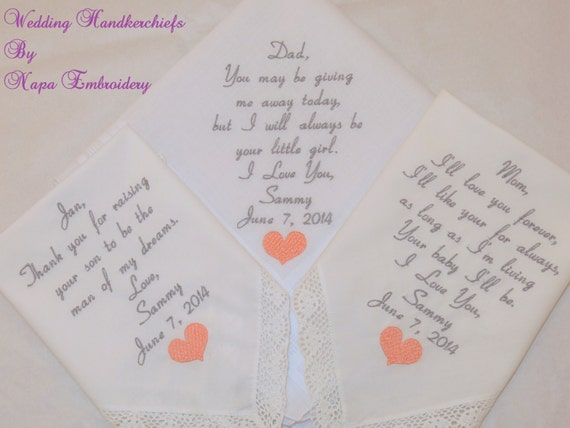 gift pack Mother of the Bride Father of the Bride Mother of the Groom Handkerchiefs Personalized Embroidered Hankerchiefs Wedding Gifts