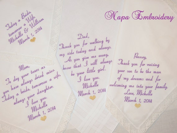 Set of 4 Hankerchiefs for Parents of the Bride and Parents of the Groom Embroidered Wedding Handkerchiefs Personalized gifts Napa Embroidery