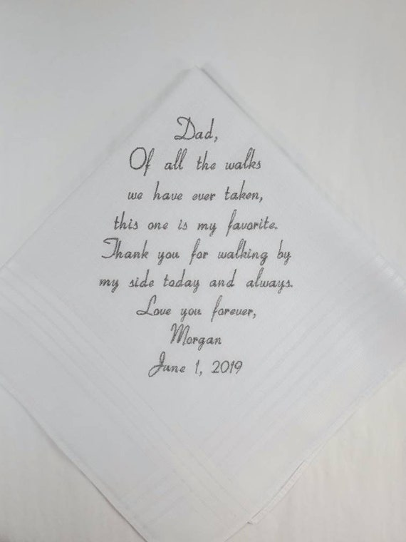 Wedding Gift Father of the bride Embroidered Personalized Wedding Handkerchief Wedding Hankerchief Gift for Dad from the Bride Custom Hanky