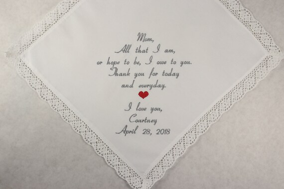Mother of the Bride Gift Embroidered Wedding Handkerchief Personalized Hankerchief wedding hankies gift for Mom Printed in embroidery