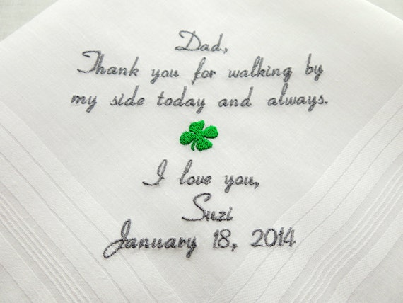 Father of the Bride Irish Wedding Gift Personalized Wedding Hankerchief Handkerchief Four Leaf Clover Irish gift for Dad Napa Embroidery