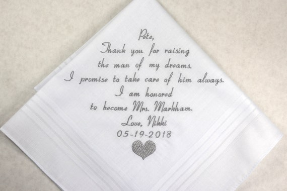 Father in Law Gift from Daughter in Law Embroidered Wedding handkerchief Personalized Hankerchief for Father of the Groom from Bride