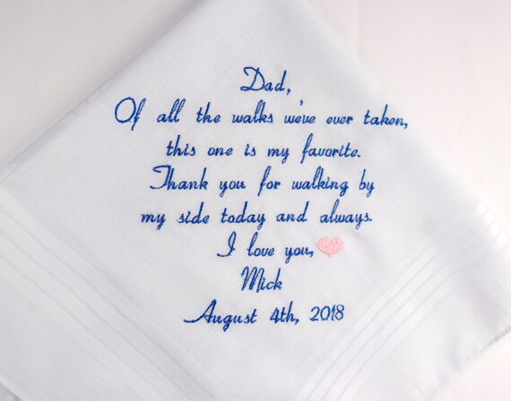Father of the bride Gift from daughter Embroidered Personalized Wedding Handkerchief Wedding Hankerchief Wedding Gift for Dad from the Bride