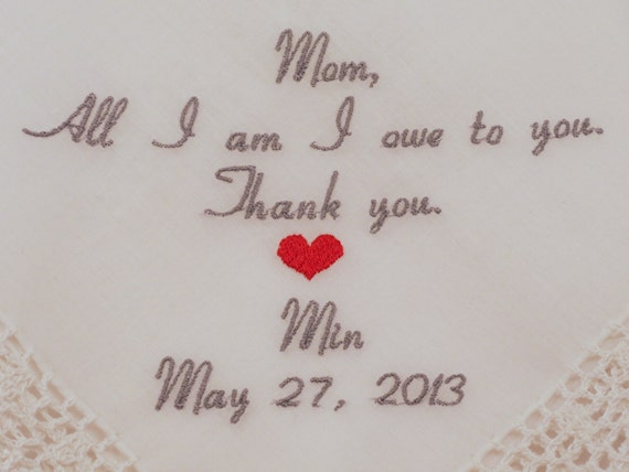 Mother of the Bride Gift Mom Wedding Hankerchief Wedding Gift Custom Embroidered Handkerchief Personalized Wedding Gift by Napa Embroidery