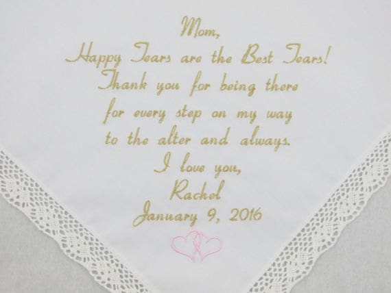 Mother of the Bride Gift from Daughter for Mom Hankerchief Wedding Gift Embroidered Wedding Handkerchief Personalized by Napa Embroidery
