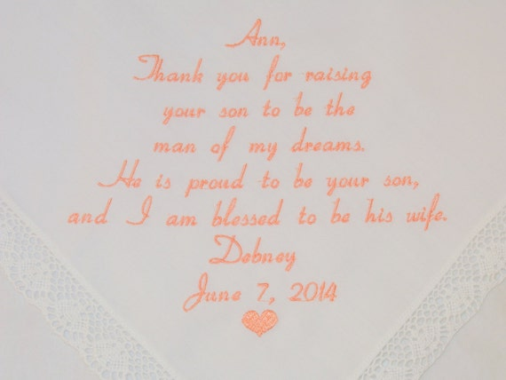 Personalized Embroidered Wedding Handkerchiefs Mother in Law Thank you for raising Man of my dreams love amazing on Etsy by Napa Embroidery