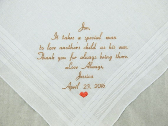 Step Father of the Bride Gift Step Dad Wedding Gift Embroidered Wedding Hankerchief Personalized Handkerchief Napa Embroidery