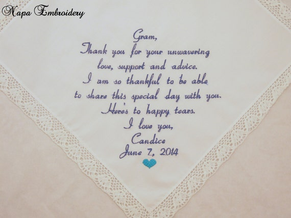 Wedding Gift for Grandma Embroidered Handkerchief for Grandmother and Grandparents of the Bride Personalized by Napa Embroidery