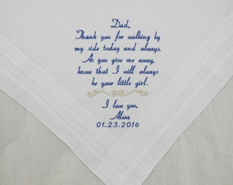Father of the Bride Handkerchief Personalized Embroidered Wedding Hankerchief Father of the Bride Gift Wedding Handkerchief Napa Embroidery