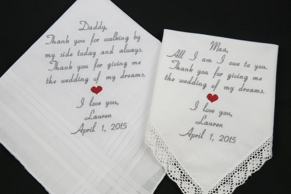Father of the Bride Mother of the Bride Hankerchiefs for Mom Dad Embroidered Wedding Handkerchiefs Personalized parents of the Bride Gifts
