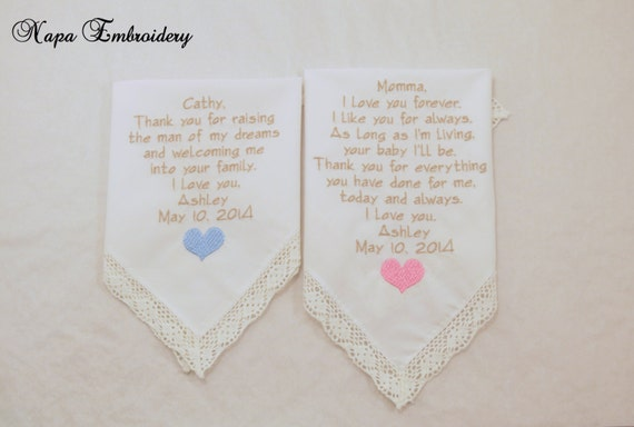 Mother of the Bride and Mother in law WEDDING GIFTS Handkerchiefs Embroidered Personalized set of 2 mom of the Groom Bride Napa Embroidery