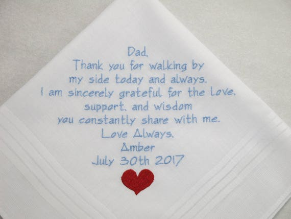 Father of the Bride Gift Wedding Handkerchief Wedding Hankerchief Embroidered Wedding gift for Dad Personalized from bride custom Gifts