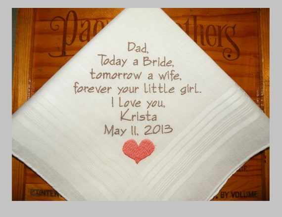 Father of the Bride Gift Dad Wedding Gift Handkerchief Father of the Bride Hankerchief Embroidered Personalized Custom Gift Napa Embroidery