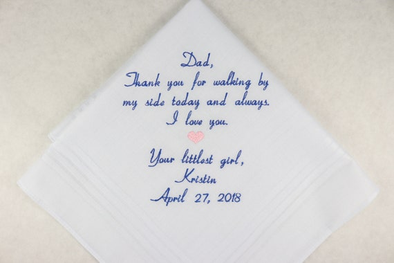 Handkerchief for Father of the bride Gift Embroidered Personalized Wedding Hankerchief Wedding Gift for Dad from the Bride Napa Embroidery