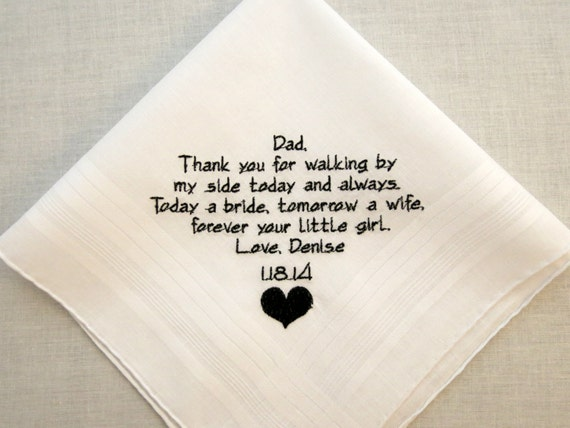 Father of the Bride Gift Wedding Hankerchief Wedding Handkerchief Embroidered Gift Personalized for Dad from Daughter by Napa Embroidery