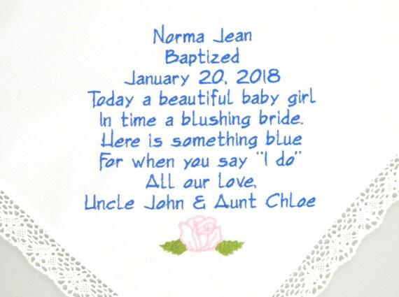 Baptism Gift Girl Christening Gift Something Blue Christian Confirmation Gift Baby Handkerchief Gift Goddaughter For Godchild Hankerchief